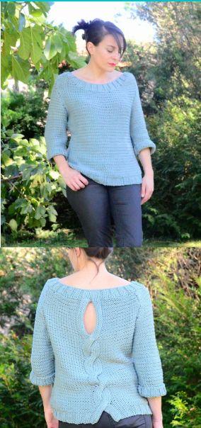 Voici un tutoriel pour réaliser ce joli pull torsadé dans le dos. Tuto gratuit, en français, tricot. Ce tuto peut se décliner dans tous les tons que vous souhaitez. Merci à Aiguilles Coupon Ciseaux pour son partage !