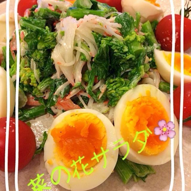 菜の花にハマってしまぃました〜\(//∇//)\ 今日はあっさり系♡ 苦味もなく 頂けました! - 100件のもぐもぐ - 菜の花サラダ by chiko7821