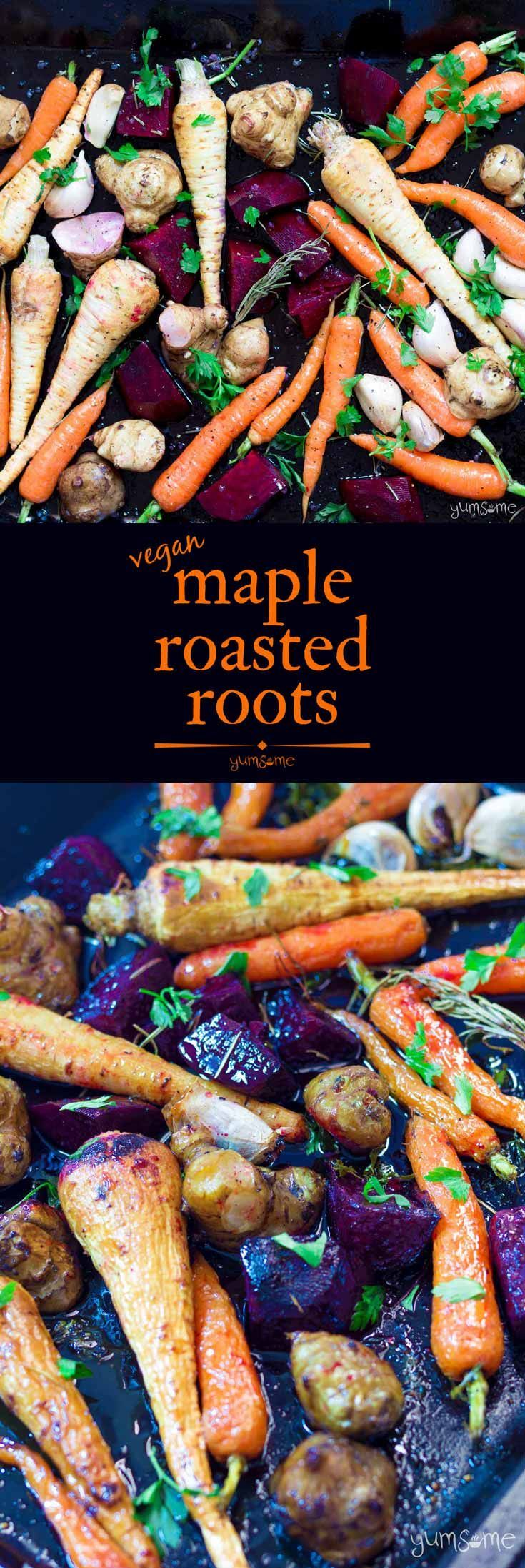 No #roast #dinner is complete without a goodly pile of roast #veggies, right? And there's little more goodly than these #vegan #maple roasted #root #vegetables. Bung 'em in the oven, and then in your tummy - you won't be disappointed! | yumsome.com via @yums0me