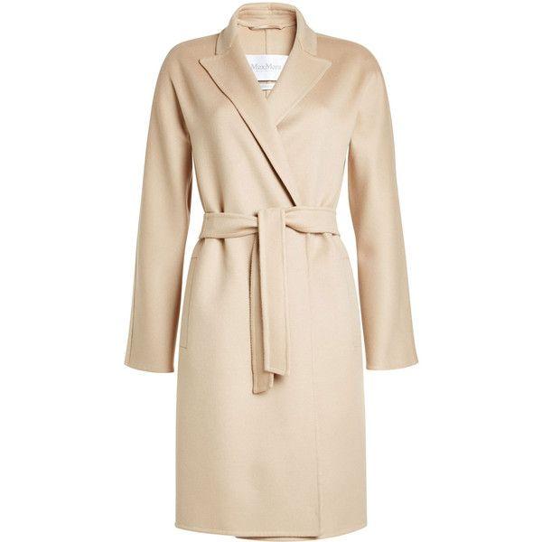 Max Mara Virgin Wool Coat ($1,525) via Polyvore featuring outerwear, coats, beige, maxmara coat, maxmara, pink coat and beige coat