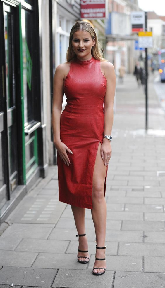 7767ae0929d LAMBSKIN CELEBRITY DESIGNER RED COLOUR LEATHER DRESS ALL SIZEs Custom Made   ZAAROON  DRESS  Casual