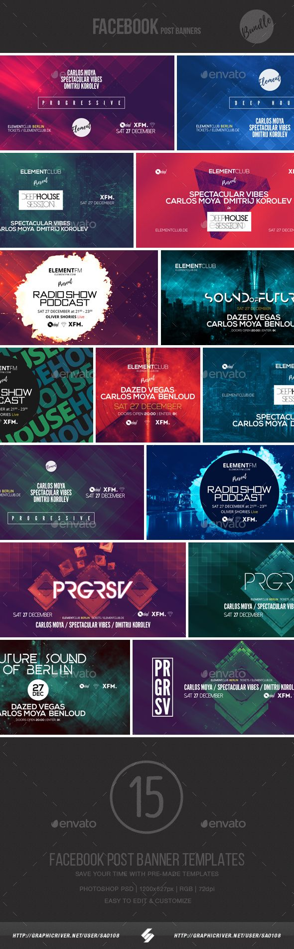 Electronic Music Event Facebook Post Banner Templates PSD Bundle