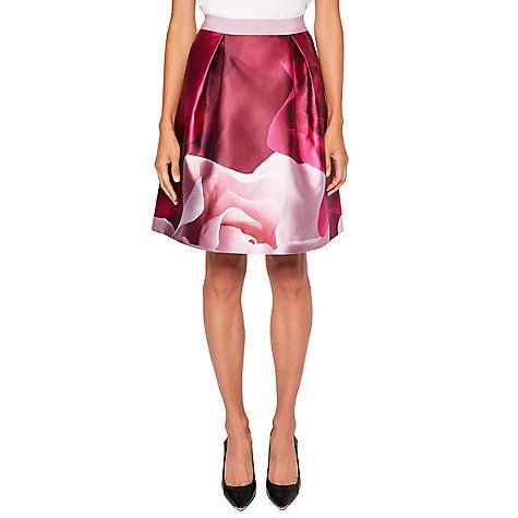 Buy Ted Baker Nell Porcelain Rose Skirt, Maroon Online at johnlewis.com