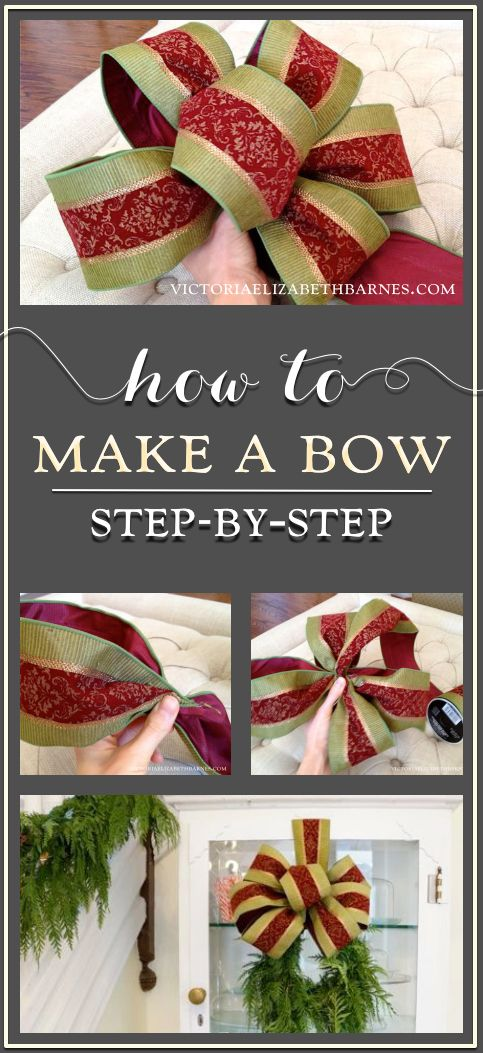 How to make a decorator's bow... a step-by-step tutorial… great for holiday wreaths, tree-toppers, or on a special gift!