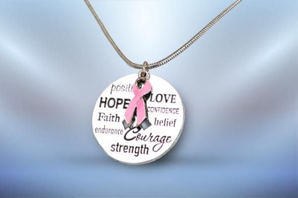 Words of Encouragement Necklace With Ribbon Charm - Breast Cancer (Pink) - Silver Chain