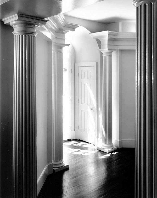Authentic replication columns roman doric capitals attic - Fluted wood columns interior ...