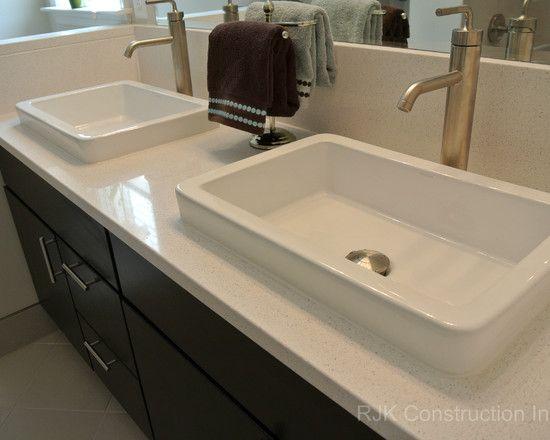 Blanco Maple Silestone Vanity Top Bathroom by RJK Construction