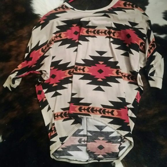 Aztec shirt from a local boutique in Texas!♡ High low aztec Tops Tees - Short Sleeve