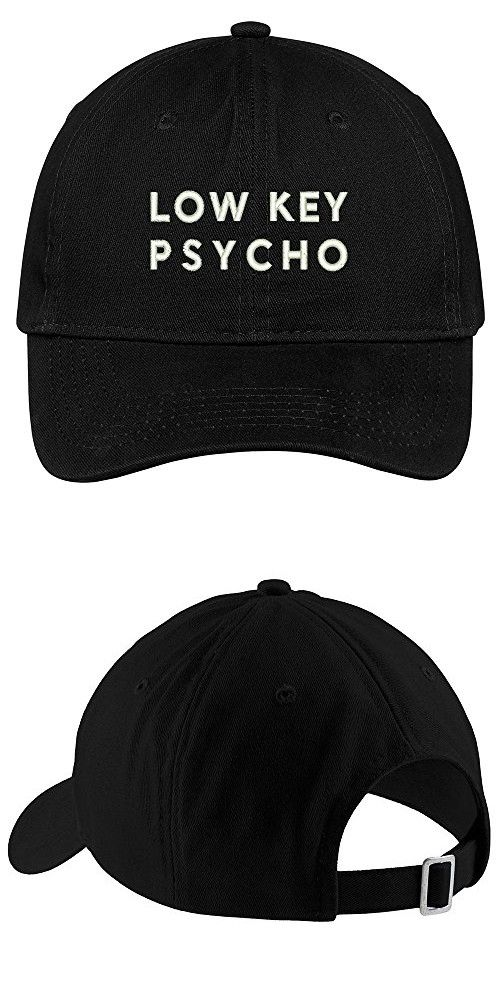 3eaa4e9ad8a Low Key Psycho Embroidered Brushed Cotton Adjustable Cap Dad Hat - Black