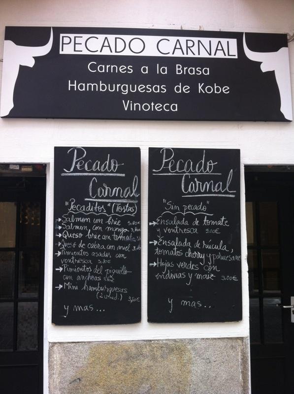 Pecado Carnal. c/Fúcar 9, Madrid. Barrio de las Letras. Carne de Kobe y hamburguesas de autor.