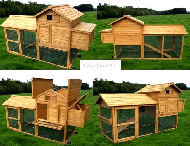 Deluxe Wooden Chicken Poultry House Cage Bird Rabbit Pet Coop Hen Hutch 4 Large   Pet Supplies, Backyard Poultry Supplies   eBay!