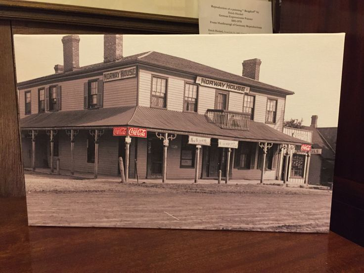 Stretched canvas print of the Norway House Hotel Beaches area Toronto early 1900. Great for Coca Cola Collectors