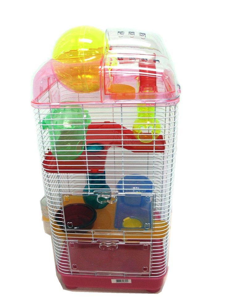 yml 3 level clear plastic dwarf hamster mice