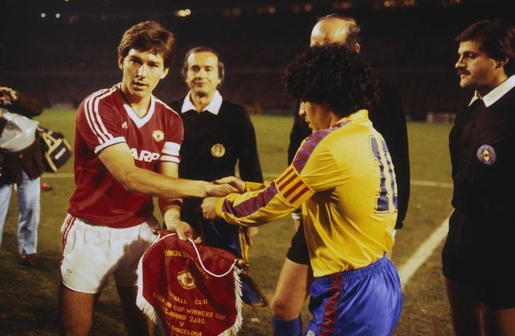 Bryan Robson & Diego Maradona. Old Trafford March 1984.
