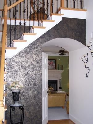 Black Accent Wall With A Sponged On Metallic Finish: When We Moved Into Our