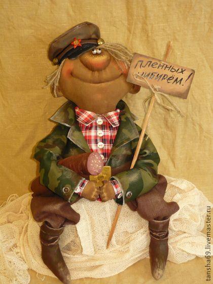 Коллекционные куклы ручной работы. Ярмарка Мастеров - ручная работа. Купить Наш папка гИрой!!!. Handmade. Примитивная кукла, пуговицы
