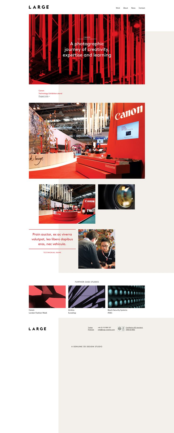 Large case study – Art Direction of the use of colour and imagery. A colour can be attributed to a project for use on the headings and blockquotes. Flexible use of imagery (layout).