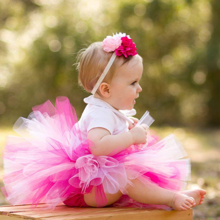 Infant Tutu Pink with Flower Headband, Newborn Baby Tutu, Toddler Tutu, Pink Tutu, Pink Tutu Dress, Pink Tutu Set, Pink Baby Tutu by TutuCaChu on Etsy
