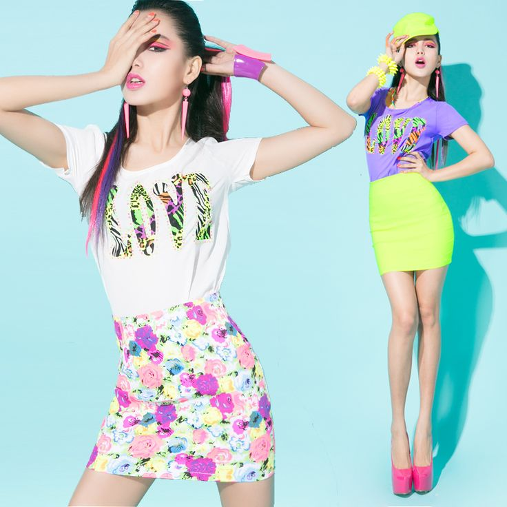 For boss y lady2013 fashion summer trend of the letter fancy chromatic aberration neon color t-shirt short skirt