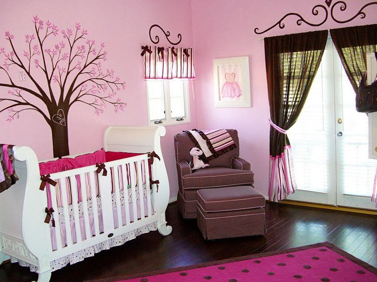 Baby Nursery Celebrities Baby Nursery Room You Can Get Inspired From Pink Nuance Baby Girl Room Decoration With Cartoon Tree Wallpaper White Wooden