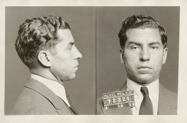 """In this April 18, 1936 photo, the police booking photo of Charles """"Lucky"""" Luciano is shown in New York. (AP / New York City Municipal Archives, DA Case Files)"""