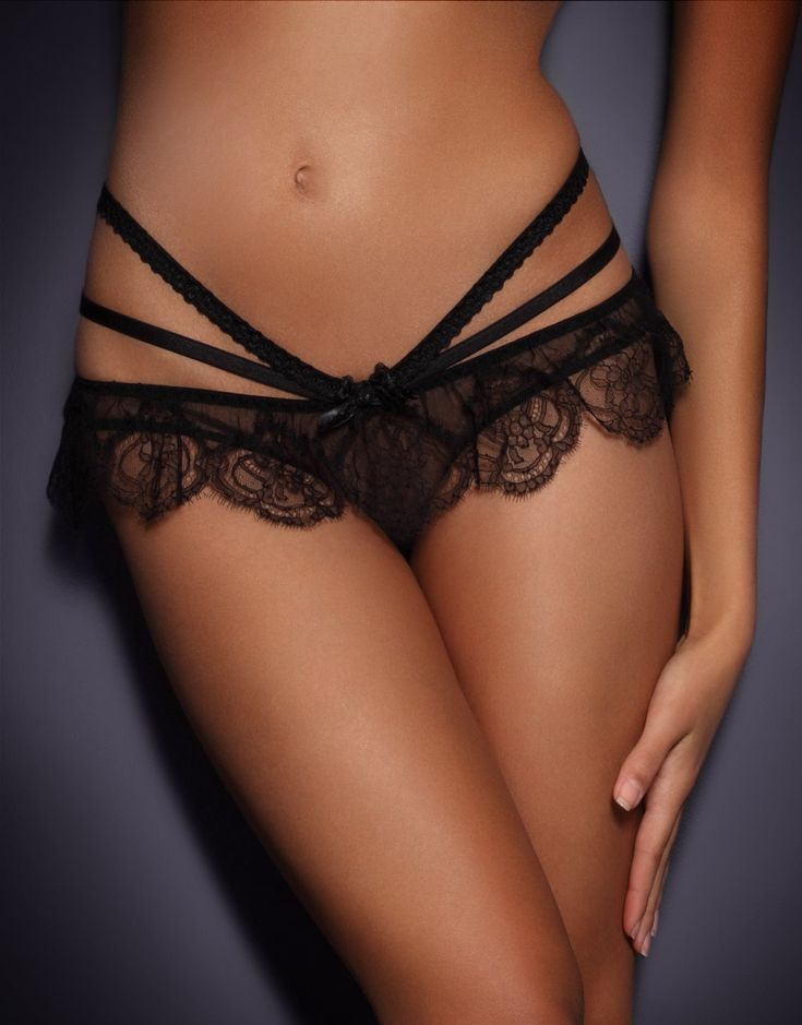 The Alina Ouvert (Front):  Design: Agent Provocateur;  Specs: Smain body of ouvert is sheer mesh; with a skirt of scalloped lace & a bow in front centre.  Double straps wrap around the hips on both sides, to reveal stunning back side (see back pin for details).  Price: $220