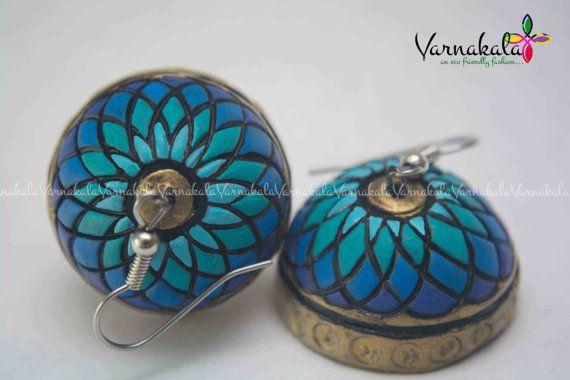 BLUE FLORAL JUMKA Handmade terracotta earring by Varnakala