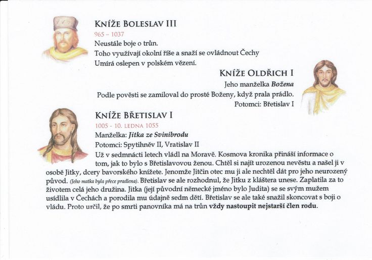 Přemyslovská knížata 3/3 (Kartičky o Historii - Doporučuji zafoliovat a pak chronologicky ukládat do pořadače)