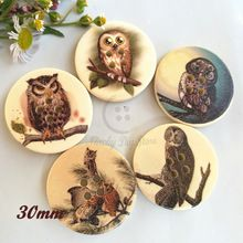 48pcs 30mm 4 holes owl patterns wood buttons for sewing craft scrapbooking sewing decorative accessories(China (Mainland))