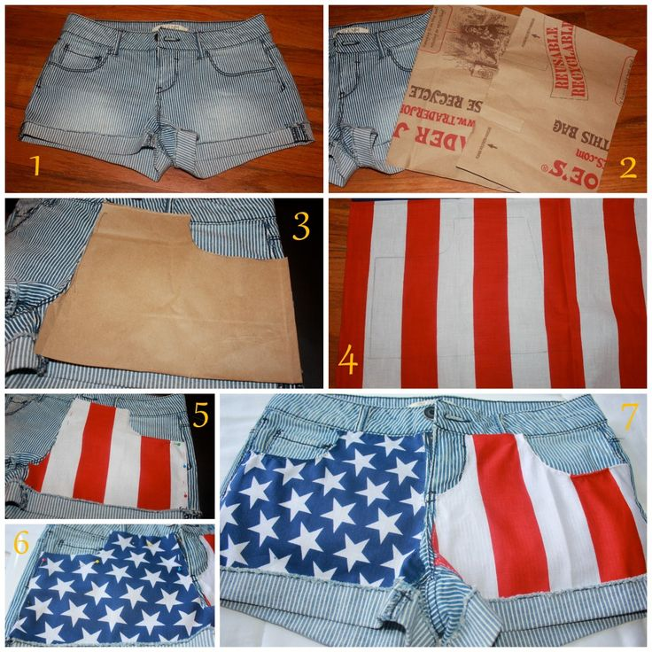 So THAT's how you do it! To create a pair of american flag shorts, use an american flag bandana.