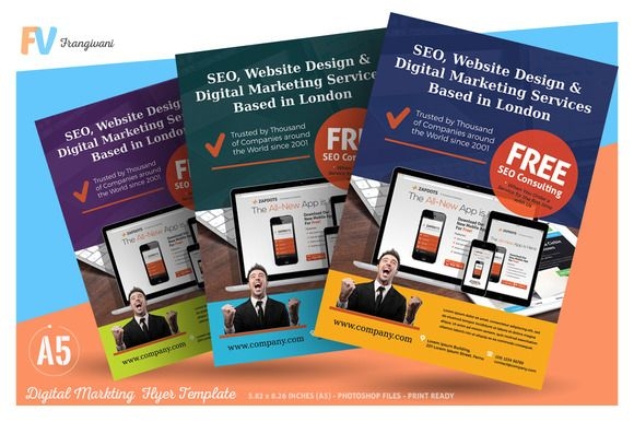 Digital Marketing Flyer Template by frangivani on @creativemarket