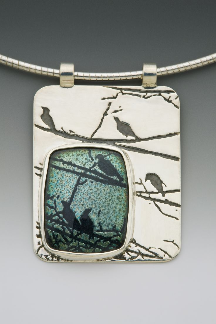 Nature inspired fabricated silver & copper enamel jewelry by Daria Salus. Artist explains process on website. Intriguing.