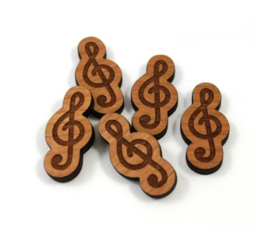 8 Pieces. Treble Clef Charms -Mixed Laser Cut Wood -Earring Supplies- Laser Cut Supplies- Little Laser Lab Sustainable Wood Products | littlelaserlab.com