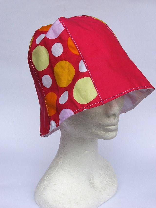 cappellino donna da sole e spiaggia, tessuto leggero, colorato, fuxia a pois, summer hat  women, chapeaux ètè di Janecolori su Etsy