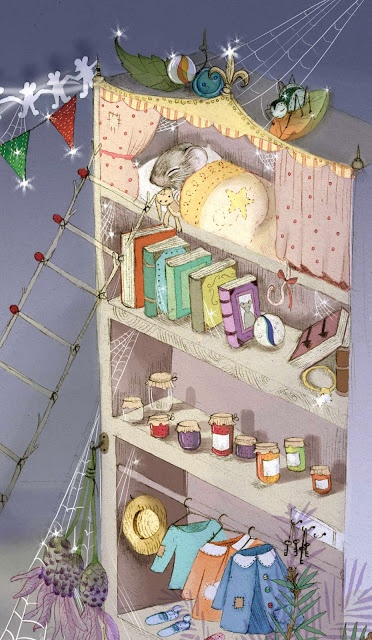 Bookshelf Mouse House  ~<>~ Jessica Mauskin illustration