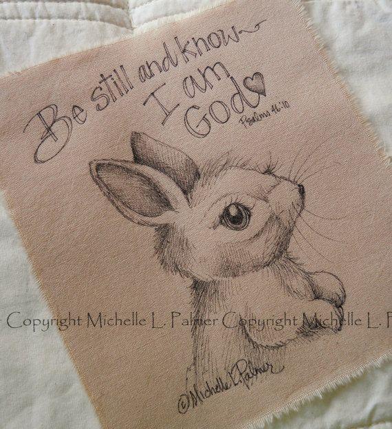 Original Pen Ink Fabric Illustration Quilt Label by Michelle Palmer Bunny Rabbit Scripture August 2014