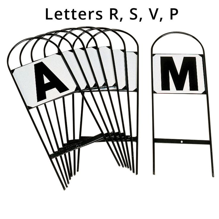 The Stubbs Set Of 4 Dressage Arena Letters comprises the letters R, S, V and P needed for a 40 x 20 dressage arena.