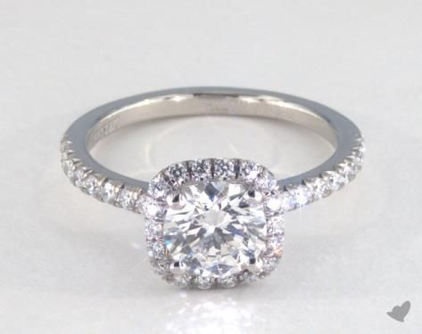 49493 engagement rings, halo, 14k white gold cushion outline pave engagement ring item - Mobile