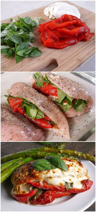 Roasted Red Pepper, Mozzarella and Basil Stuffed Chicken -- (gluten free and low carb)  Prepare chicken filled with roasted red pepper. It makes meat juicy and savory.You will get finger-licking meat that will look amazing.