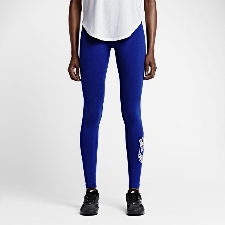 Nike Leg-A-See Logo - SNUG COMFORT The Nike Leg-A-See Logo Women's Leggingsare made with a stretch cotton blendfor a soft, comfortable feel. Product Details  Elastic fold-over waistband with Just Do It print Fabric: (Solid):87% cotton/13% spandex. (Heather): Dri-FIT 57% organic cotton/32% recycled polyester/11% spandex. Machine wash Imported