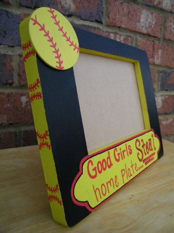 this sporty softball themed good girls steal home plate frame makes the perfect gift for that special athlete this frame fits a 5 x 7 photo and