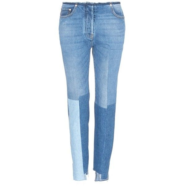 Valentino Washed patchwork jeans ($1,580) ❤ liked on Polyvore featuring men's fashion, men's clothing, men's jeans, blue, patch jeans, frayed-cuff jeans, blue jeans, patch denim jeans and raw edge jeans