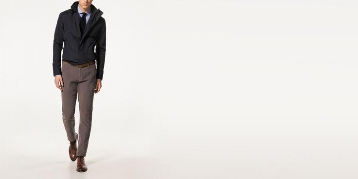 NAVY NYLON AND CANVAS JACKET - Coats & Jackets - NEW SEASON - MEN - Israel