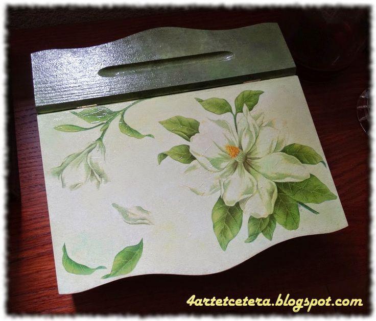 Art et Cetera: Sekretarzyk decoupage z magnolią