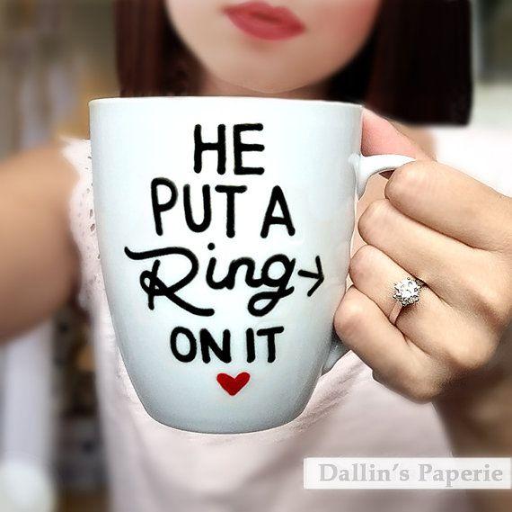 Personalized mug, Engagement Gift Mug, hand drawn, Hand painted, he put a ring on it mug, Bridal shower gift, Ceramic Coffee mug, latte mug