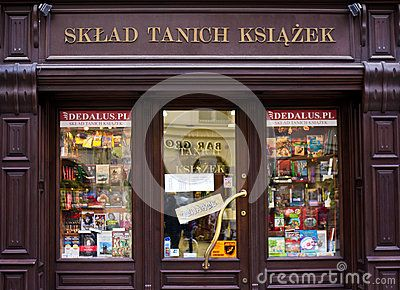 Cracow Krakow, Poland, old town. The facade of a Cheap Books Store Sklad Tanich Ksiazek.