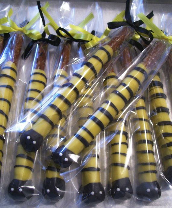 Bumble Bee Pretzel Rods Chocolate Covered Pretzel by MarieGrahams