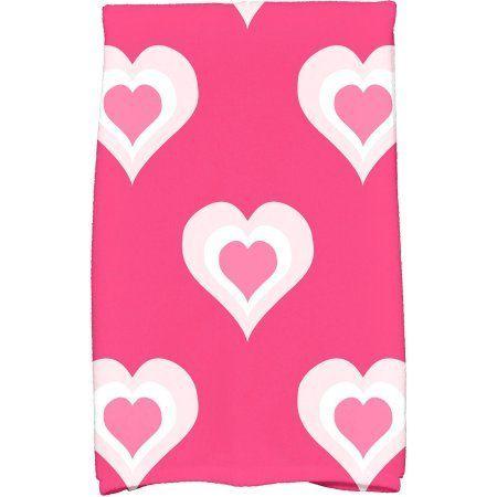 Simply Daisy 16 inch x 25 inch Valentine Print Hand Towel, Purple