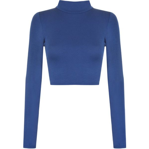Harmony Turtle Neck Crop Top ($12) ❤ liked on Polyvore featuring tops, shirts, royal blue, blue top, turtleneck crop top, turtleneck shirt, turtleneck long sleeve shirt and blue crop top