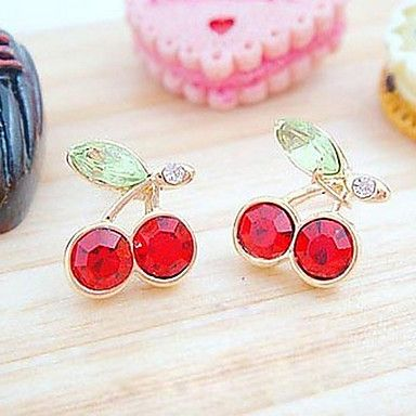 Women's Japanese And Korean Version Cute Red Cherry Crystal Earrings E96 – USD $ 0.79